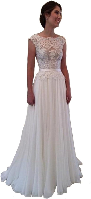 XPLE Women's Bridal White Lace Long Appliqued Beach Princess Wedding Dresses Open Back D001
