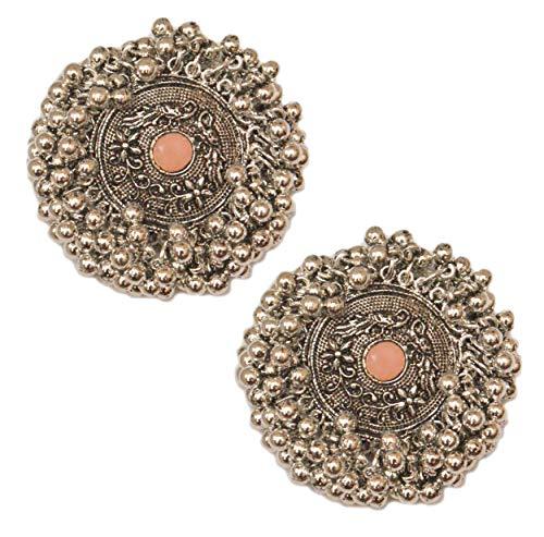 Pahal - Pendientes tradicionales de plata con perlas de kundan de color naranja y melocotón para mujer