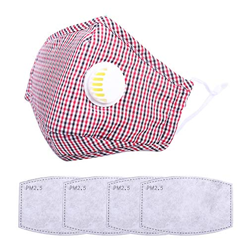 Reusable, Washable Fashion Cotton Face Masks for Cycling Travel Outdoors, Includes 4Pcs Filters