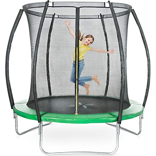 ToyStar 8ft Trampoline With Enclosure For Kids, Safety Net Enclosure, Spring Cover Foam Padding, Rust-Resistant Hot Dip Galvanised Frame, Garden Outdoor, 244cm x 244cm x 243cm