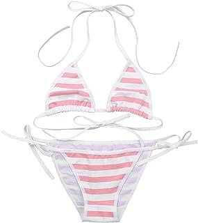 ABAFIP Womens Micro Tanning Bikini Kawaiii Japanese Anime Lingerie Set Cute Tiny Bra Panty Bottom Extreme Swimsuit