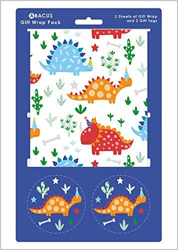 Abacus 08816A - Papel de regalo con 2 hojas y etiquetas de cuerda, diseño de dinosaurio