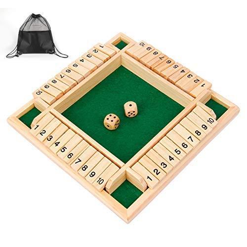 Siebwin Shut The Box, 4-Spieler Würfelspiel Holz Brettspiel Klappenspiel Board Spielzeug Holz Spiele mit Aufbewahrungstasche für Kinder und Familie Unterhaltsames