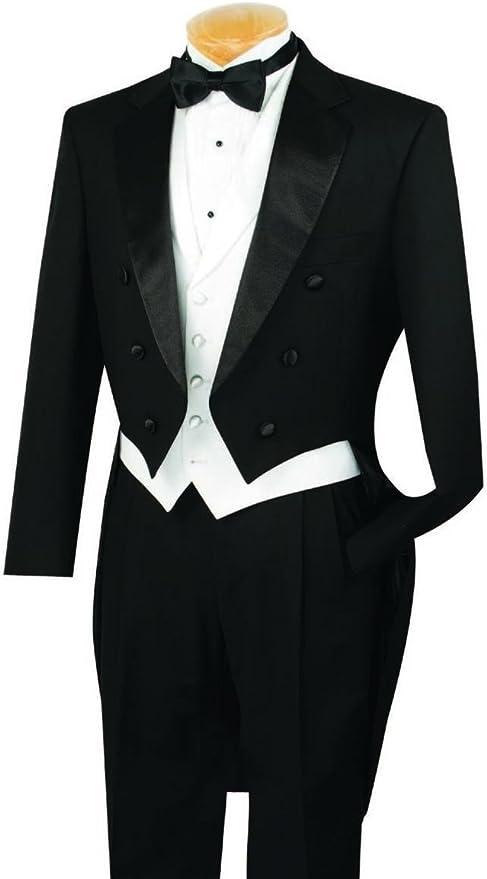 1930s Men's Fashion Guide- What Did Men Wear? VINCI Mens Classic Fit Tuxedo with Tails & White Vest  AT vintagedancer.com