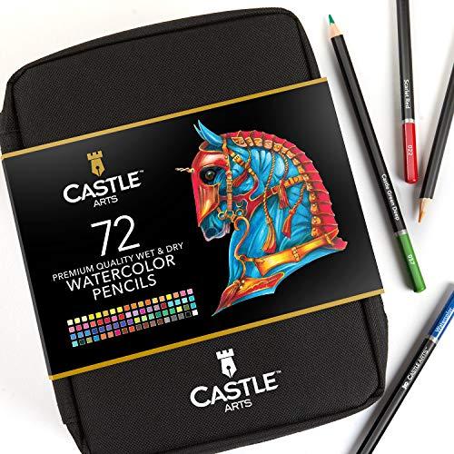Castle Arts - Set di 72 matite acquerellabili in una custodia con cerniera per con nucleo colorato di alta qualità con colori vivaci per creare bellissimi effetti