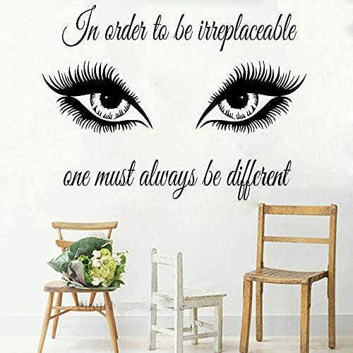 stickers muraux enfants winnie Citation d'art afin d'être irremplaçable décalque yeux cils maquillage fille autocollants salon de beauté