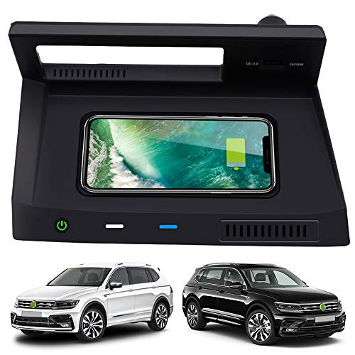 Braveking1 Caricatore Wireless Auto per VW Tiguan 2018-2020 Pannello Accessori Console Centrale, 10W Qi Rapida Ricarica Telefono Pad con QC 3.0 USB Porta per iPhone 12/11/XS/XR/X Samsung S20/S10/S9