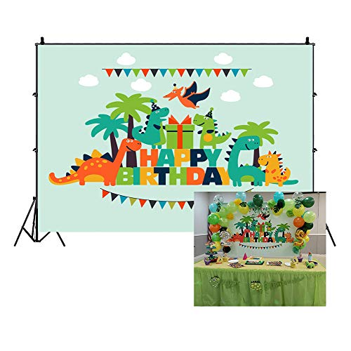 LFEEY 5x3ft Cartoon Dinosaur Kids Happy Birthday Backdrop for Pictures Lovely Funny Dinosaurs Children Gilrs Boys Birthday Party Photography Background Photo Studio Props
