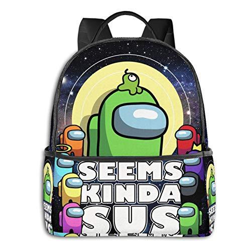 Among Us Backpack, 3D Printed Student Bookbag Shcool Bags Durable Travel Business Daypack for Kids Boys Girls Green