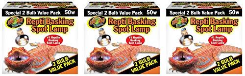 Zoo Med Reptile Basking Spot Lamp 50 Watt - 6 Bulbs Total (3 Packs with 2 per Pack)