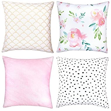 Decorative Throw Pillow Covers For Couch, Sofa, or Bed Set Of 4 18 x 18 inch Modern Quality Design 100% Cotton Floral Polkadot Gold Metallic Pink  Adelaide Set  by Woven Nook