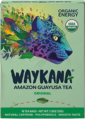 Organic Green Guayusa Tea Bags by Waykana, 16 counts | Alternative to Yerba Mate, Coffee and Green Tea: Smooth Flavor No Bitter | Boost Performance, Energy & Mental Clarity