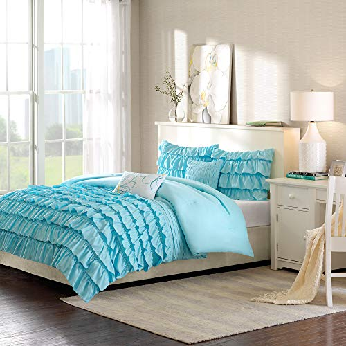 Intelligent Design Waterfall Comforter Set Twin/Twin XL Size - Teal, Ruffles – 4 Piece Bed Sets – Ultra Soft Microfiber Teen Bedding for Girls Bedroom