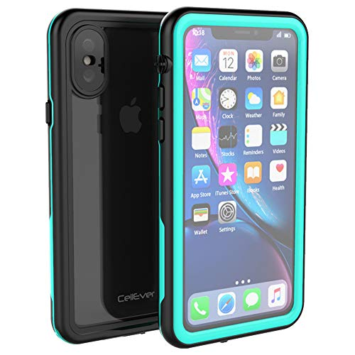 CellEver Compatible with iPhone Xs/iPhone X Waterproof Case Fully Sealed Clear Slim Military Grade Protection IP68 Certified SandProof Snowproof Full Body Protective Transparent Cover (Ocean Blue)