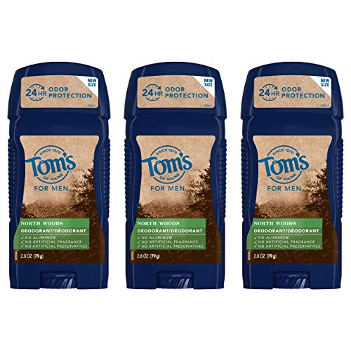 Tom's of Maine Men's Long Lasting Wide Stick Deodorant, Deodorant for Men, Natural Deodorant, North Woods 2.8 Ounce, 3-Pack