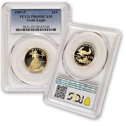 1989 P 1/4 oz Proof Gold American Eagle PR-69 Deep Cameo by CoinFolio $10 PR69DCAM PCGS