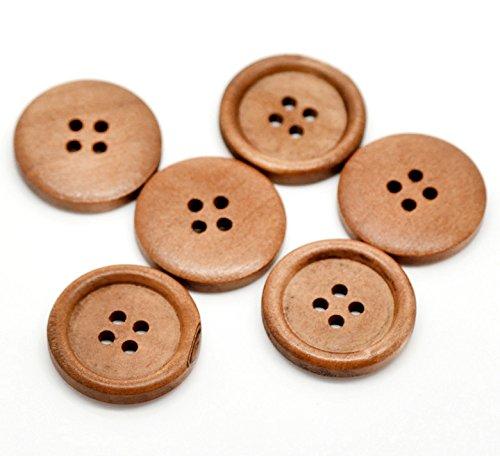 SiAura Material ® - 50x Runde Holzknöpfe, Hellbraun, 4 Löcher, 25 mm