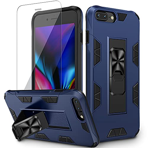 VEGO Compatible for iPhone 8 Plus Case, Built-in Hidden Kickstand Magnet Military Grade Shockproof Stand Case with Tempered Screen Protector for iPhone 6 Plus 6s Plus 7 Plus 8 Plus 5.5 inch - Blue