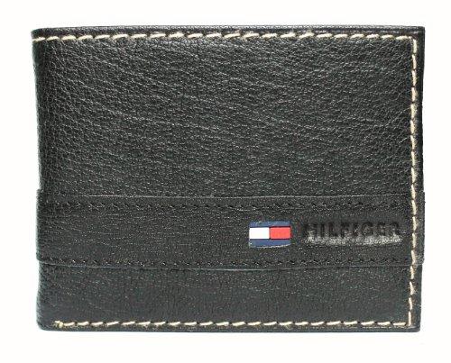 Carteira masculina Tommy Hilfiger de couro com porta-cartões (Preta)