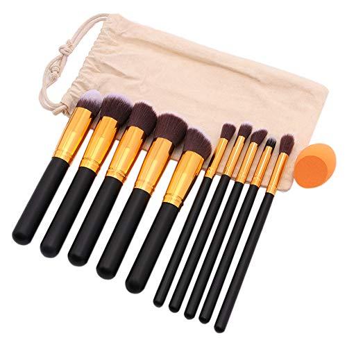 Pinceau De Maquillage Or Noir 10 Pcs Laine De Nylon Outil De Beauté Manche En Bois Feuilletée Avec Biseautés Sac En Toile De Jute Ensemble