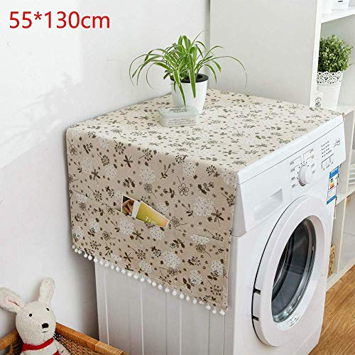 TXYFYP Waschmaschine Cover mit Reißverschluss für Waschmaschinen mit Vorne Belastung Schutzhülle für Waschmaschine Beige mit Weißen Herzen Design - Stil 4, 130 x 55 cm