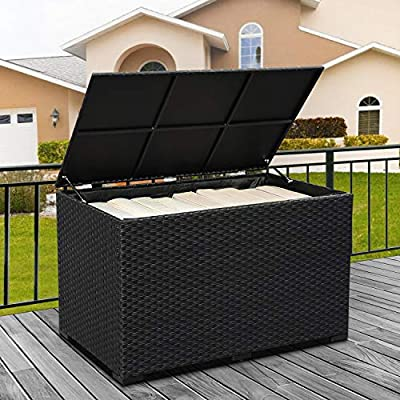 Outdoor Wicker Storage Box, Resin Black Rattan Deck Bin with Lid, Big Size 150 Gallon,Waterproof Liner Container for Patio Gardening Tools, Cushions, Pool Accessory,Pillows