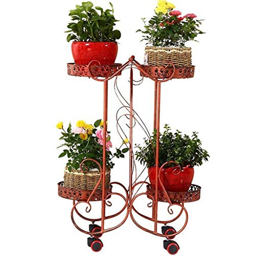 Plantenrek, metalen bloemenkruiden, tuintafel, planken, ijzeren vloeren, woonkamer binnen en buiten, balkon, getrapt, 3-laags plantenstandaard, bloempot met afneembare wielen.