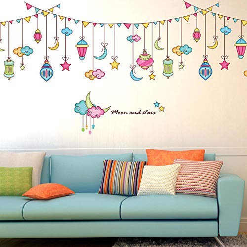 TNIEG Wandtattoo für Kinderzimmer- Wandaufkleber Kreative Cartoon Schlafzimmer Wohnzimmer Sofa Hintergrund Wand Kinderzimmer Farbstreifen Sterne Mond Dekoration Dekorative Aufkleber
