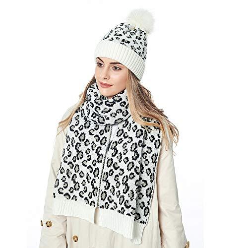 Cappello invernale da donna lavorato a maglia sciarpa set leopardo Beanie cappello scaldacollo berretto da sci bianco Taglia unica