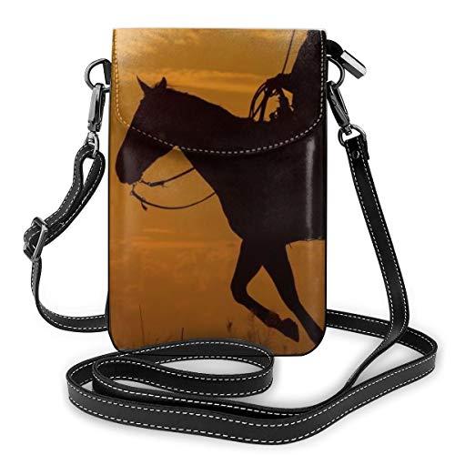 Western Cowboy Monedero de piel para mujer con diseño de caballo, atardecer, mini bandolera para el hombro para el teléfono móvil, bolsillo para las mujeres al aire libre, camping, bolsa deportiva
