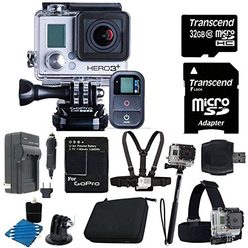 GoPro HERO3+ Black Edition + Charger with Car Charger + Deluxe Hard Carrying Case + Monopod + Chest Strap +Head Strap Mount + 32GB SDHC MicroSD Memory Card Complete Deluxe Accessory Bundle
