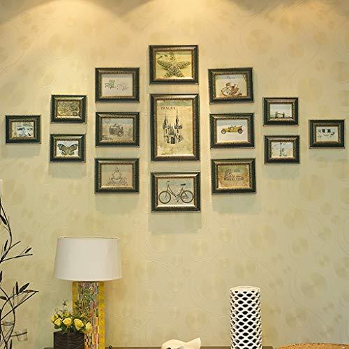 Arte de oficina en casa Marco de fotos Decoración de pared, marcos de cuadros Conjuntos para pared, arte de arte retro marco de pared decoración de pared, marco de fotos de pared colgando de sala de e