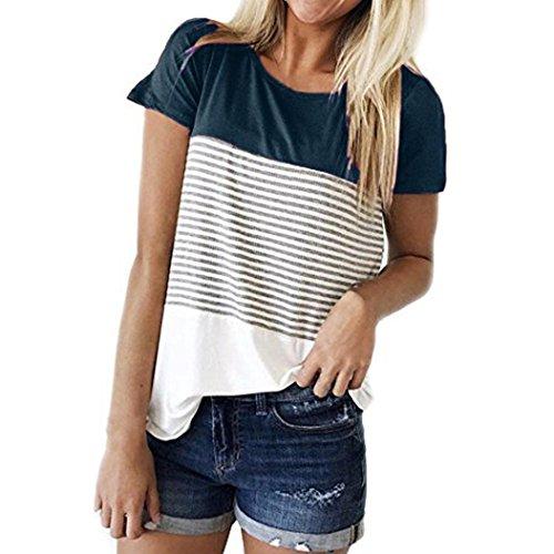MRULIC Frauen Kurzarm Dreifach Farbe Block Streifen T-Shirt Casual Bluse Damen Shirt Weisse Bluse (EU-38/CN-M, Navy)