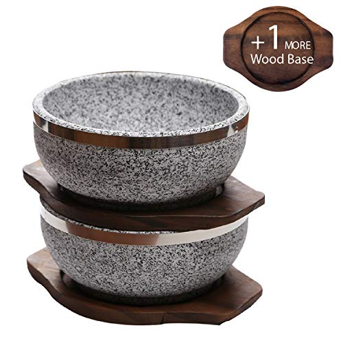 KoreArtStory - Natural Korean Bowl (Set Of 2 + Wood Base 1 More + Bibimbap Recipe With Dolsot Bowls) / Premium Granite Hot Pot For Cooking Korea Soup And Food Stone