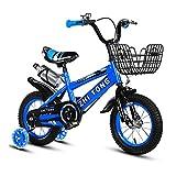 Bicicleta para niños y niñas Freestyle bicicleta 12 14 16 pulgadas con ruedas de entrenamiento, bicicleta infantil (azul, rojo, amarillo)+taza de agua, azul, 35,5 cm