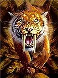 Pintura por Nmeros Kit Dibujos Animados Animal Tigre Dientes de Sable Diy Pintura Al leo Para Adultos, Nios, Creative Pintura Sobre Lienzo Decoracin Para El Hogar 40X50CmSin Marco