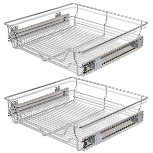 vidaXL 2x Bandejas Extraíbles Balda Cocina de Alambre de Acero Cromado 600 mm
