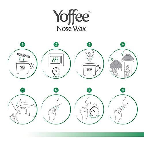 BESTSELLER YOFFEE NOSE WAX - KIT CERA NASO E ORECCHIE CON APPLICATORI - Ceretta per naso e orecchie - CON CERA D'API NATURALE - Sicura, veloce e indolore - Rimuove i peli del naso - Facile da usare con 10 applicatori / 50g.