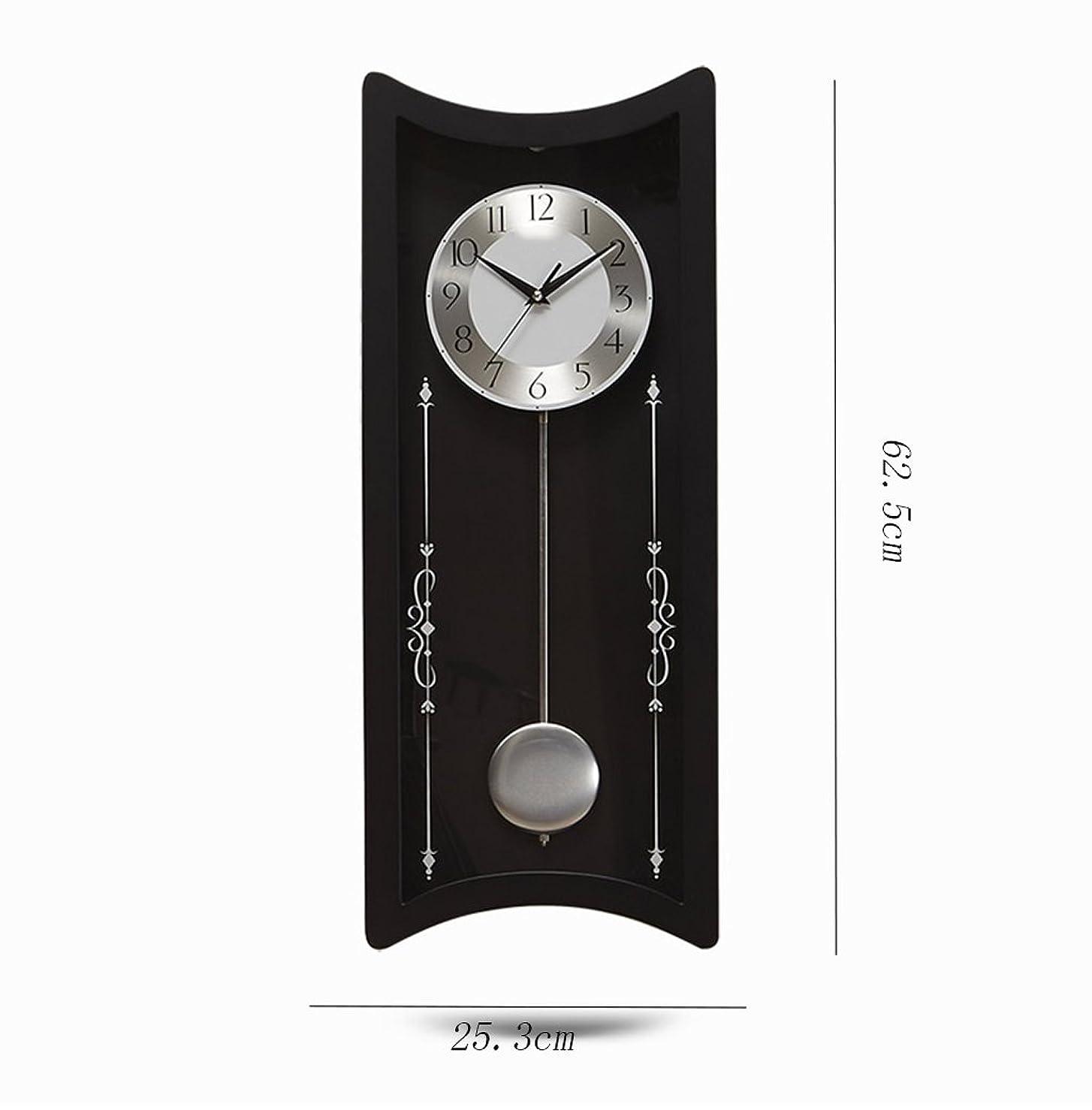 ウイルス格納復活させるJJJJD ほこり防止のためのガラスカバーが付いている振り子の柱時計の無声水晶電池の柱時計 (色 : ブラック, サイズ さいず : 10 inches (25.5 cm in diameter))
