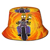Anime Homer Jay Simpson Sombrero de Cubo Sombreros de Pescador Sombreros de Cubo de Doble Cara Impresos Protector Solar de Verano Visera Plegable Gorra Deportiva al Aire Libre