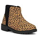 Olivia Miller Kid's Girl Fashion Shoes, Leopard Print Faux PU Leather Lug Sole Round Toe Winter Snow Casual Classic Chelsea Bootie Ankle Boots