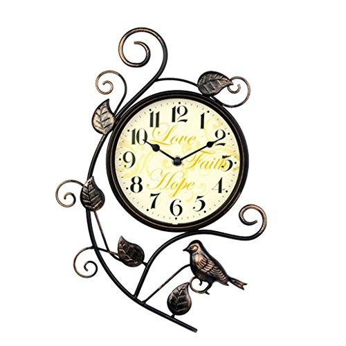 Rose Gold Clock Simple Watch Wrought Iron Bird Hanging Table European Retro Mute Wall Clock Living Room Bedroom Garden Art