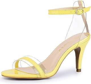 Allegra K Women's Stiletto Heel Ankle Strap Clear Sandals
