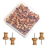 Wooden Push Pins 40-Count, Walnut, Wood Thumb Tacks Decorative for Bulletin Boards, Cork Boards, Foam Boards