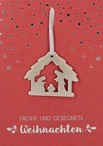 Frohe und gesegnete Weihnachten: Karte (rot) mit Metall-Anhänger