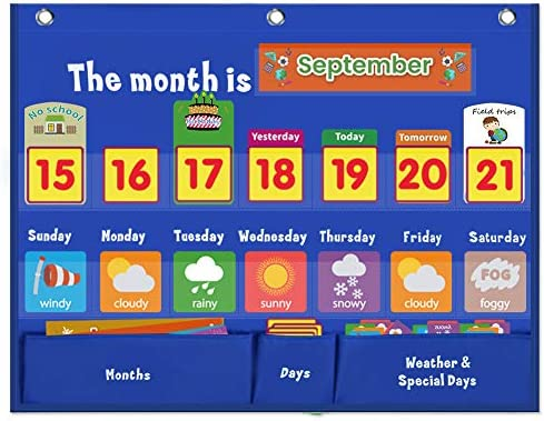 VNOM Weekly Calendar with Weather Pocket Chart Elementary for Classroom Home 98 Bright Cards product image