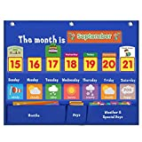 VNOM Weekly Calendar with Weather Pocket Chart Elementary for Classroom Home,98 Bright Cards Included,Learning Pocket Chart Calendar for Kids Toddlers