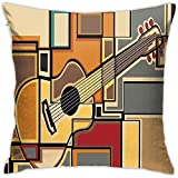 N/A Funda de Almohada Música Funky Fractal Fondo de Forma Cuadrada geométrica con Guitarra acústica Tema Figura Arte Estilo Multicolor Decorativo 18 X 18 Pulgadas