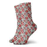 Drempad Luxury Calcetines de Deporte Poinsettia Stripe Pattern Unisex Socks, All-Season Lightweight Ankle Socks Crew Socks