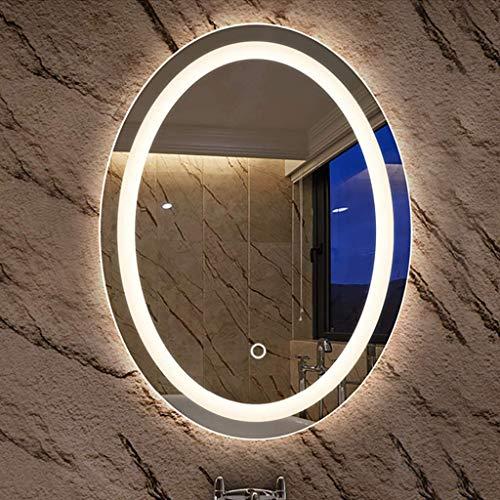 Wall-Mounted Mirrors Specchio da Bagno Lampada da Parete a LED Senza Cornice Sensore Tattile Specchio da Barba Ovale Montato a Parete Specchio da Barba Anti-Appannamento, Tempo, Temperatura